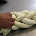 braiding challah bread