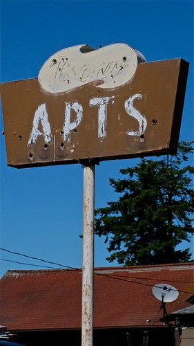 Apartment sign, Bow, WA | by Curtis Cronn