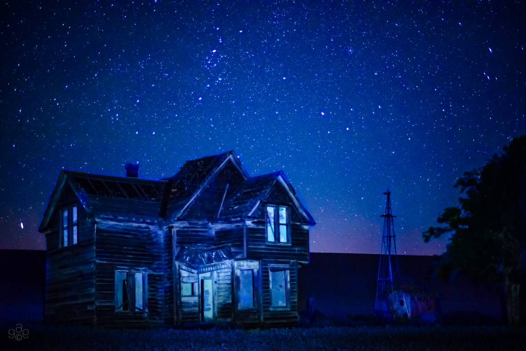 A Dark And Starry Night For An Abandoned Farm Homestead