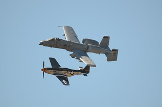 North American Aviation P-51 Mustang & Fairchild Republic A-10 Thunderbolt II in formation | by SonomaPicMan