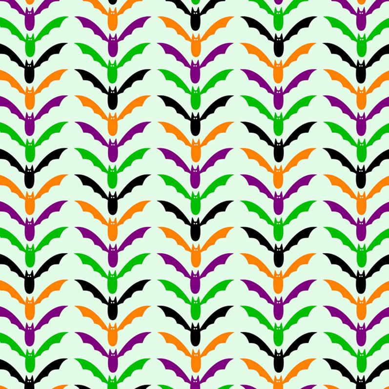 Printable Scrapbook Paper With Halloween Bat Chevron Pattern