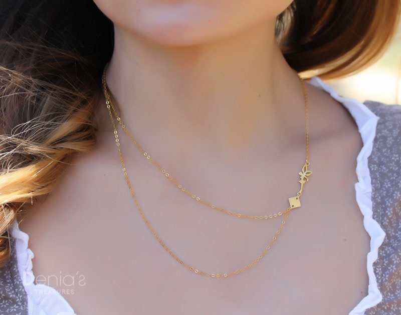 hugerect solid necklace product pendant bead gold delicate
