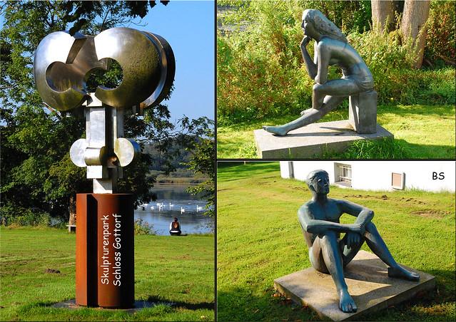 Gottorfer Skulpturenpark auf der Schleswiger Schloss-Insel ... Skulpturenpark ... Schlosskeller - Fotos und Collagen: Brigitte Stolle, September 2016