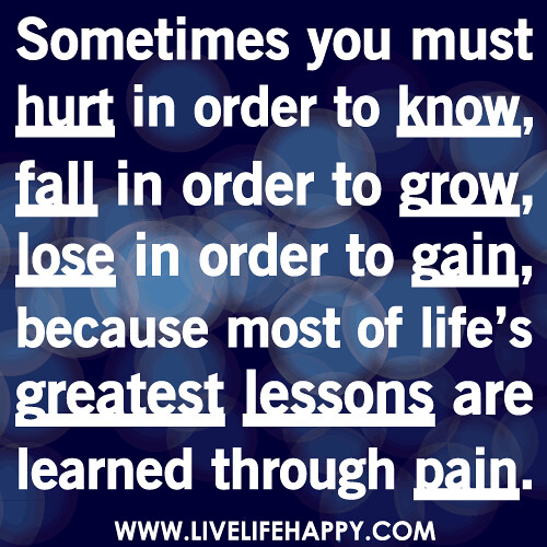 Best Lesson From Life Quotes: Sometimes You Must Hurt In Order To Know, Fall In Order To