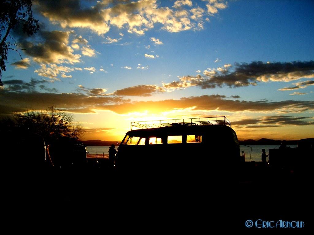 Vw Bus At Sunset Buses By The Bridge 2007 Lake Havasu
