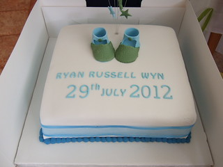Christening Cake with blue/green booties | by platypus1974