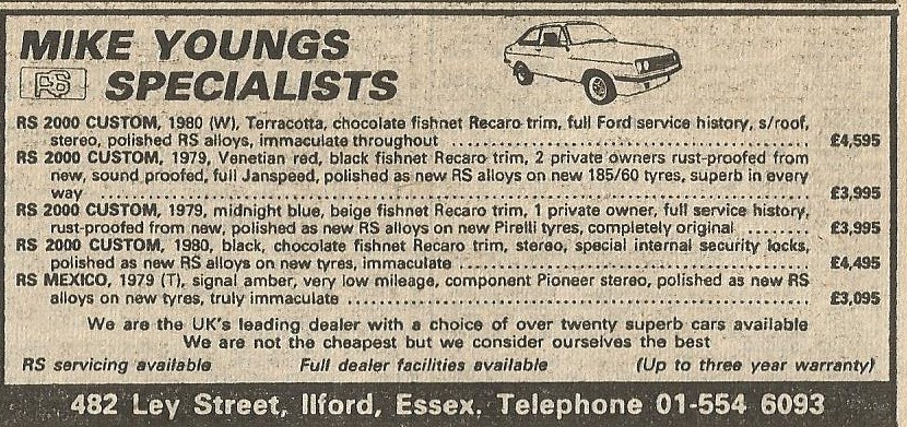 1985 ADVERT MIKE YOUNGS ILFORD ESSEX FORD ESCORT RS SPEC
