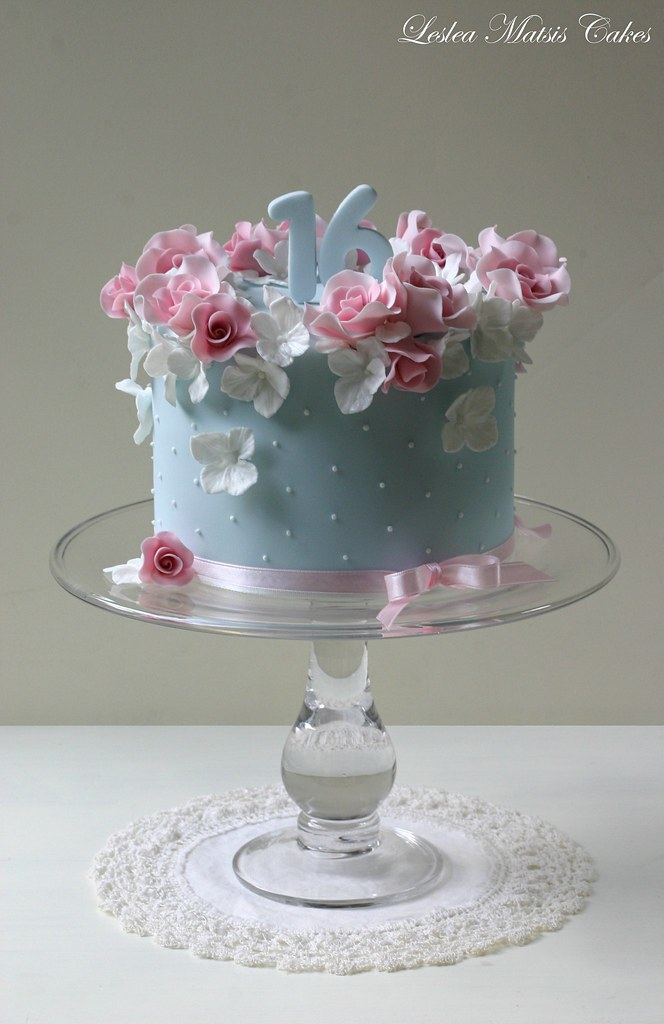 Pink Roses And Hydrangea Loved Doing This Cake