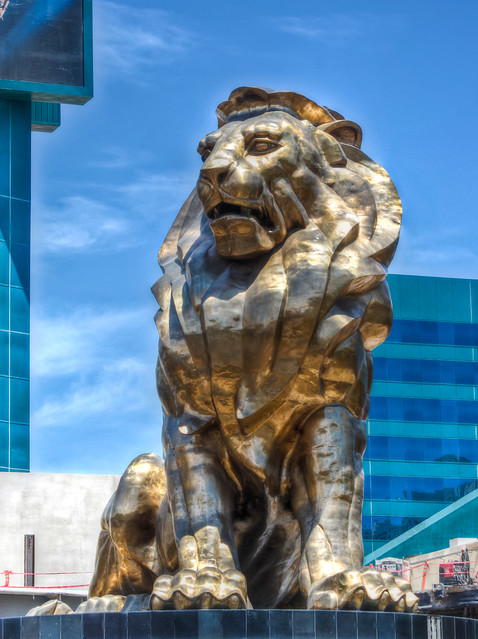 Mgm lion flickr photo sharing for Garden statues las vegas nv