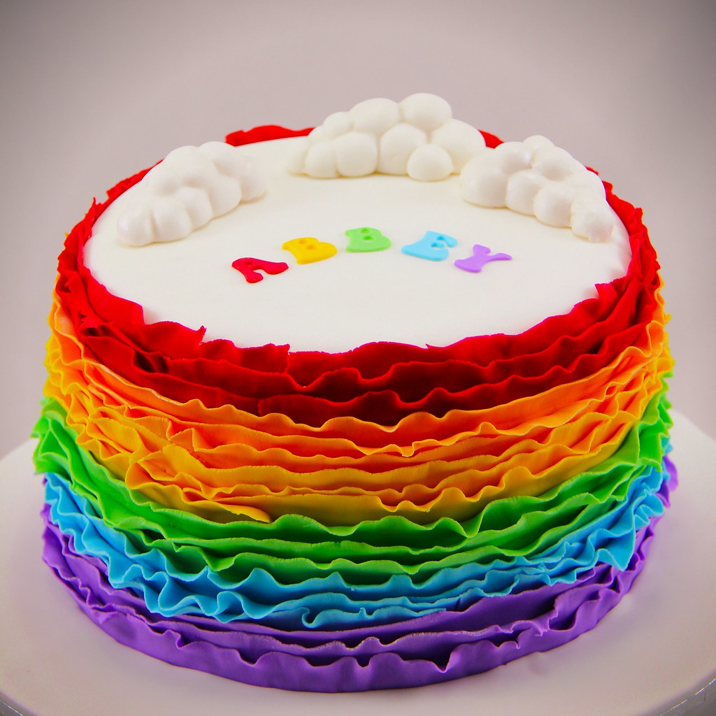 Birthday Cake Rainbow Design : Rainbow Ruffle Cake A 6 layer rainbow vanilla butter ...