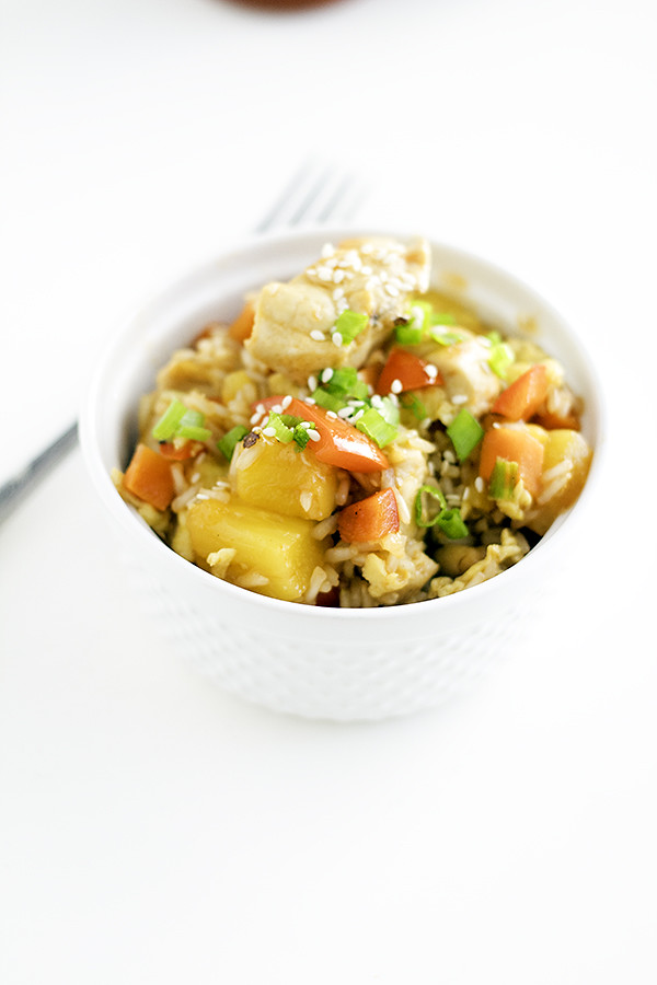 easy and delicious dinner idea! sweet and sour chicken fried rice