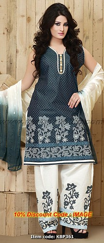 Deep Navy Blue and Off White Cotton Salwar Kameez With Dupatta | by Tanu Bansal