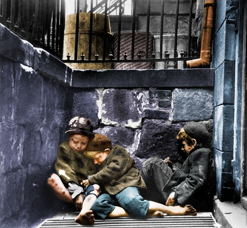 Children Sleeping in Mulberry Street (Street Arabs in Sleeping Quarters), New York, NY, USA, c.1889.  (Colorized). | by Kelly Short6