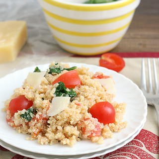 Quinoa with Roasted Garlic, Tomatoes, and Spinach | by Tracey's Culinary Adventures