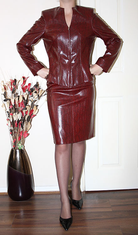 red leather lk skirt suit | for sale | sheerglamour | Flickr
