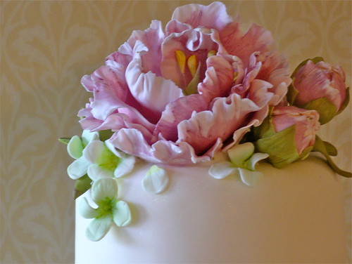 Pink Peonies & Hydrangea wedding cake | by nice icing