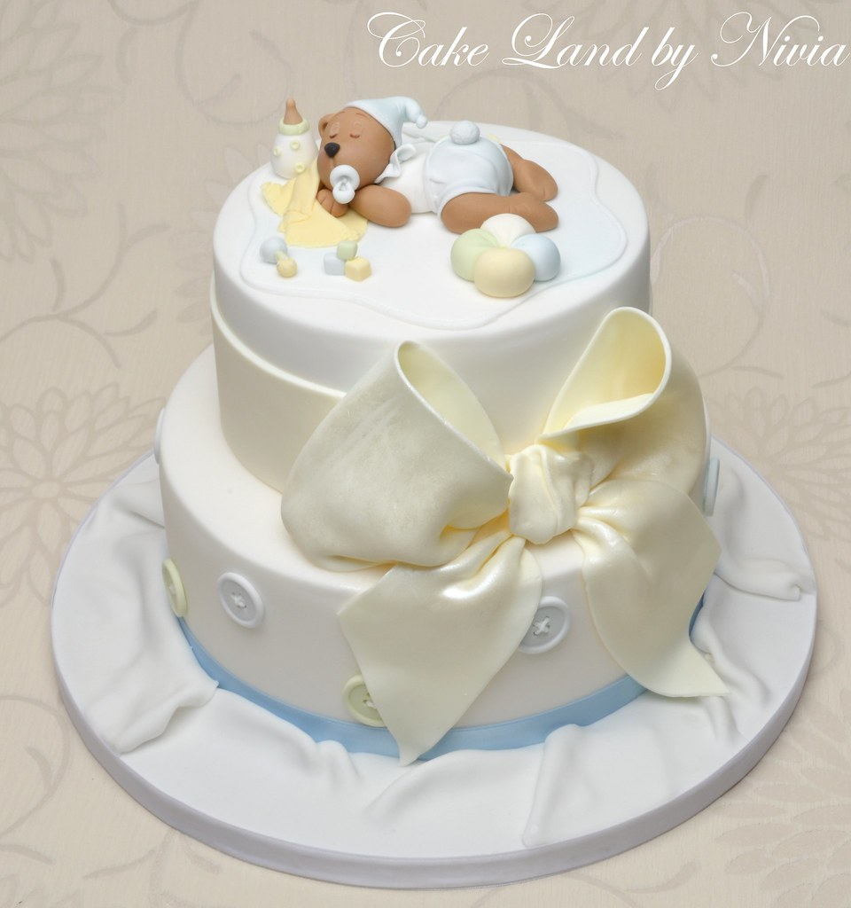 Baby Shower Teddy Bear Cake The Teddy Is Not My Own Design Flickr
