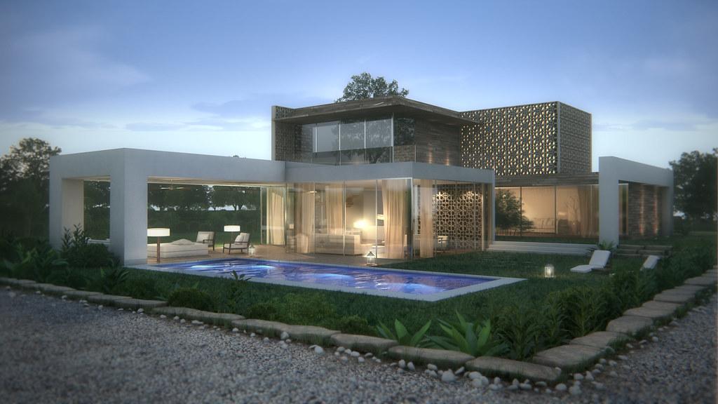 Modern house render 3d maya evening modern house 3d for Revit architecture modern house design 1