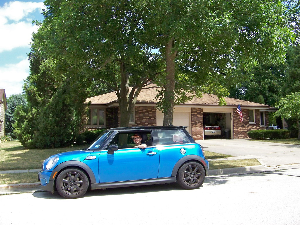 Little Blue Car Glenn In His Little Blue Car In Front Of