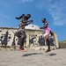 girls playing in front of the castle of Cape Coast