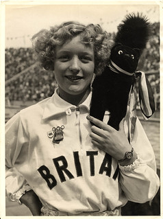 1936 viii max schirner agency berlin - olympics - dorothy odam and black squirrel mascot - front | by blacque_jacques