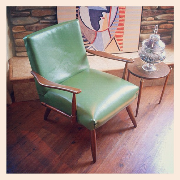 ... DANISH MODERN LOUNGE Chair 50s Vintage Upholstered Chair Nail Back Spring Loaded Green Leather Cushion Seat & DANISH MODERN LOUNGE Chair 50s Vintage Upholstered Chair Nu2026 | Flickr