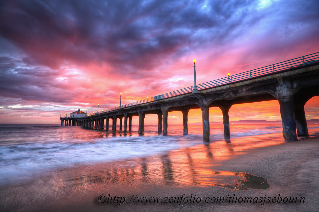 Manhattan Beach Wallpaper: Manhattan Beach Pier PINK Sunset Web Copy