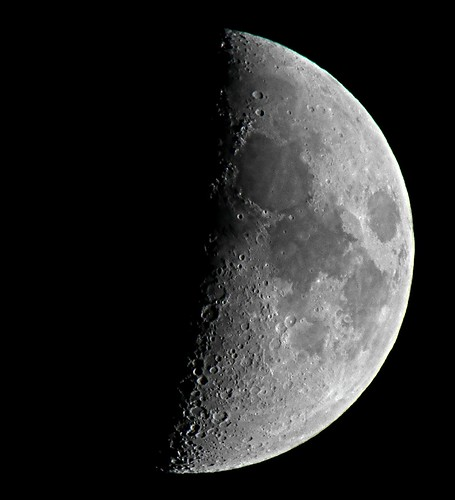 Waxing Crescent, 47% of the Moon is Illuminated taken on July 25, 2012 with a FUJI HS10 using a 1.7x Teleconversion Lens DSCF3280 | by Ted_Roger_Karson