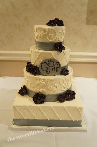 Silver And Maroon Wedding Cake