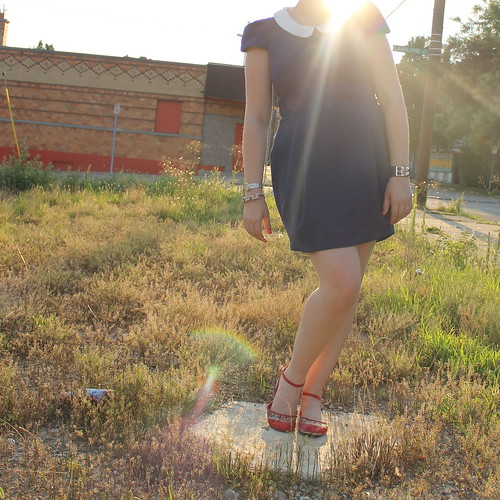 Sunset and structure outfit: Peter-Pan-collar dress, floral flats, pavé cable bracelet, etc. | by Célèste of Fashion is Evolution