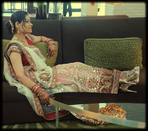 Indian Bride Relaxing In Traditional Wedding Dress Transp