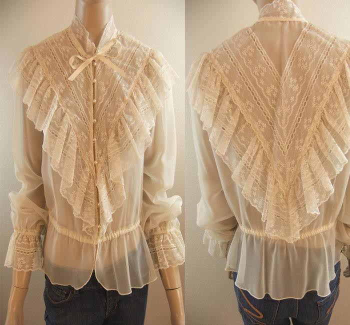 Lace Ruffle Blouse Lace Ruffled Blouse Front
