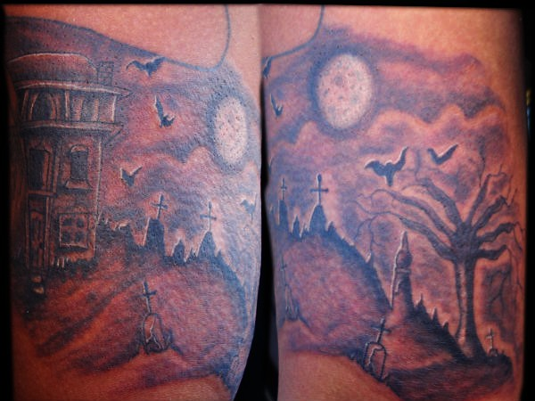 graveyard cemetery tattoo graveyard cemetery tattoo with a flickr. Black Bedroom Furniture Sets. Home Design Ideas