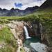 Sgurr An Fheadain on the Cuillan Ridge above falls on Allt Coir a Mhadaidh