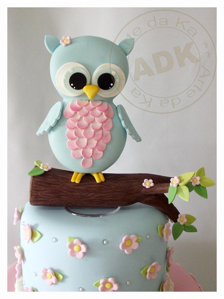 White Owl Birthday Cake