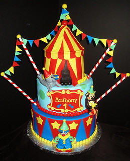 Circus Themed Birthday Cake A Colorful 3 Tier Cake And