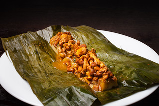 Steamed chanterelle mushrooms with epazote, achiote, and tamal colado 01 | by Gilt Taste Plates