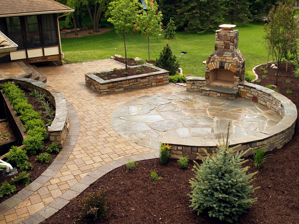 ... Stone Fireplace And NY Bluestone Flagstone U0026 Paver Patio With Stone  Seating Wall By Signature Patio
