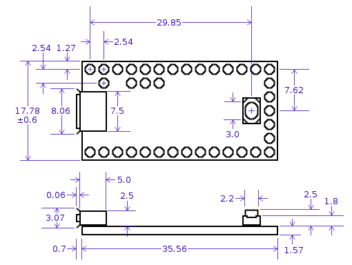 Teensy-LC Dimensions