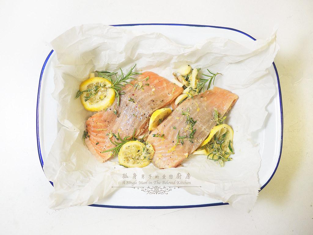 孤身廚房-烤鮭魚排佐香料烤南瓜及蒜香皇宮菜11