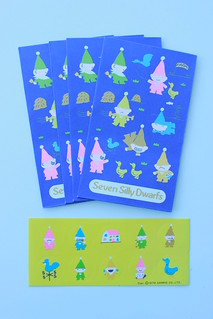 "Sanrio 1979"" Seven Silly Dwarfs"" mini envelopes and stickers 