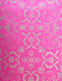 Hot pink silver damask wallpaper now available in the for Pink and silver wallpaper