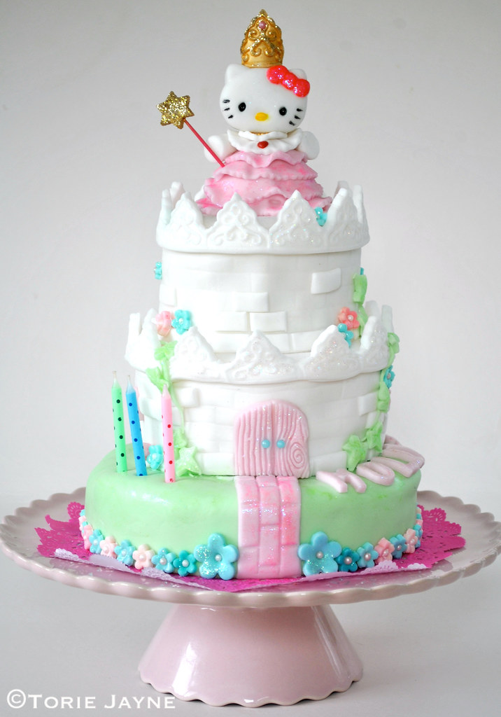 Princess Hello Kitty castle cake | Made for my niece Molly ...