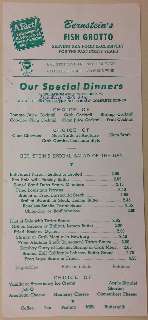 Bernstein 39 s fish grotto restaurant menu san francisco n for Stellas fish cafe menu