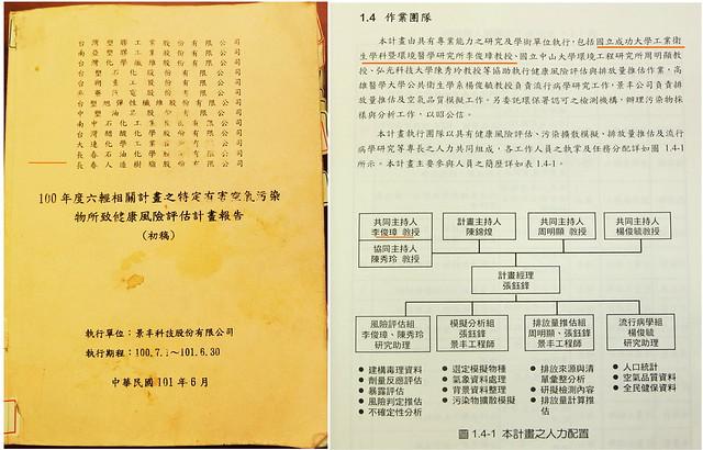 陳椒華提出李俊璋曾主持六輕「特定有害空氣污染物所致健康風險評估」計畫報告 資料提供:陳椒華