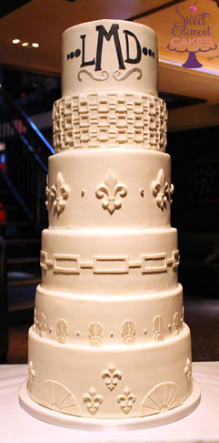 White Art Deco Fleur de lis Wedding Cake | www.SweetElement.… | Jen ...