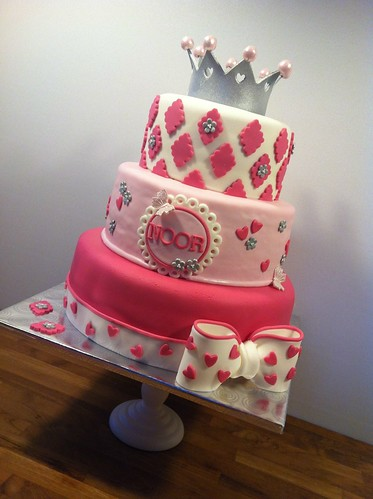 Pink Birthday Cake Noor 3 Tiered Girly Cake With