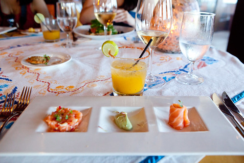Salmon tasting: Marinated with mango, hearts of palm flavored with dill, avocado mousee and chili | by thewanderingeater