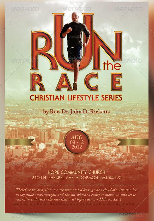 run the race church flyer template
