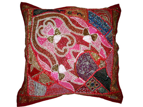 Exotic Floor Pillows : Deep Carmine Indian Luxury Beaded Floor Pillows Cover 24